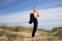 Martial arts instructor exercise outdoor Stock Photos