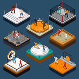 Martial Arts Isometric People Composition Royalty Free Stock Photography