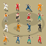 Martial Arts Isometric People Set Royalty Free Stock Photo
