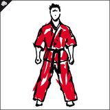 Martial arts-KARATE fighter in red dogi, kimono. EPS Royalty Free Stock Photo