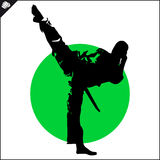Martial arts. Karate fighter silhouette scene. Fighting combat Fighter in kimono dogi taekwondo hapkido Vector EPS Stock Photography