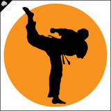 Martial arts. Karate fighter silhouette scene. Fighting combat Fighter in kimono dogi taekwondo hapkido Vector EPS Royalty Free Stock Photo