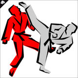 Martial arts. Karate fighters high kick. Vector. EPS. Stock Photo