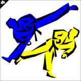 Martial arts. Karate fighters high kick. Vector. EPS. Stock Image