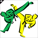 Martial arts. Karate fighters high kick. Vector. EPS. Royalty Free Stock Photography