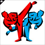 Martial arts. Karate fighters high kick. Vector. EPS. Stock Photography