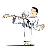 Martial arts - Karate kick. Detailed Vector Cartoon. Martial arts - karate kicks L - move royalty free illustration