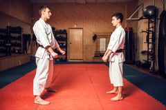 Martial arts master and young disciple. Martial arts karate master and young disciple in white uniform and black belts on training in gym Royalty Free Stock Photography