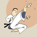 Martial arts - Karate power kick. Detailed Vector Cartoon Royalty Free Stock Photography
