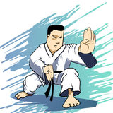 Martial arts - Karate power strike. Detailed Vector Cartoon Royalty Free Stock Images