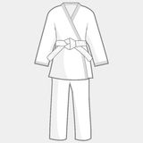 Martial arts kimono suit. Vector illustration of martial arts uniform. Karate, Taekwondo, judo, jujitsu, kickboxing, or kung fu suit Royalty Free Stock Photo