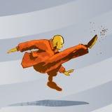 Martial arts - Kung Fu kick. Detailed Vector Cartoon Stock Image