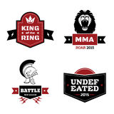 Martial arts logo set. Set of martial arts logo. mma and mix fight, emblem and ring. Vector illustration Stock Image