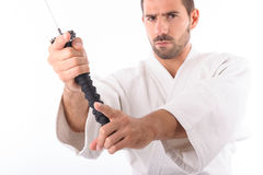 Martial arts man with sword Royalty Free Stock Photo
