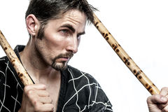 Martial arts master with bamboo sticks Royalty Free Stock Images