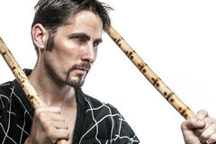 Martial arts master with bamboo sticks Royalty Free Stock Image