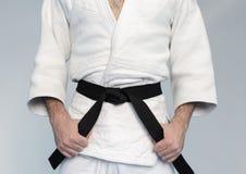 Martial arts Master with black belt Stock Photos