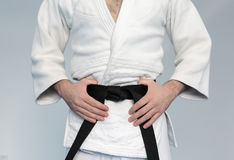 Martial arts Master with black belt Royalty Free Stock Photography
