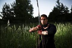 Martial arts at night royalty free stock image