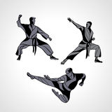 Martial arts poses silhouette. Karate fighters collection Royalty Free Stock Images