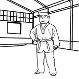Martial arts practitioner coloring page Royalty Free Stock Photos