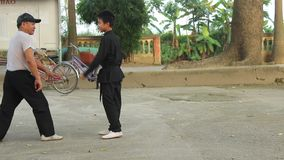 Martial arts practitioners, martial arts training stock footage