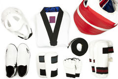 Martial arts protective gears and uniform set. Isolated on a white background Royalty Free Stock Image