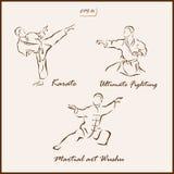 The Martial arts. Set of a vector Illustration shows a Martial arts. Wushu, Karate Stock Photos