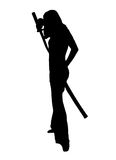 Martial arts silhouette. Silhouette over white of a female MMA student posing with a sword over white Stock Image