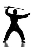 Martial arts. Silhouette of martial arts man is standing with a sword, isolated on the white background Stock Images