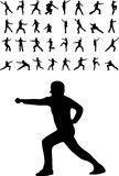 Martial arts silhouettes Stock Photography