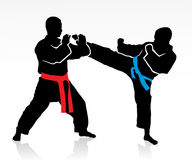 Martial arts silhouettes. Vector illustration of two men fighting Stock Image