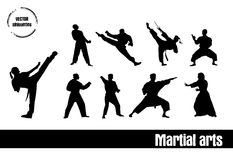 Martial Arts silhouettes Royalty Free Stock Image