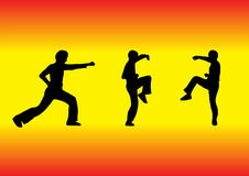 Martial arts silhouettes. Illustration of 3 martial arts silhouettes Royalty Free Stock Photos