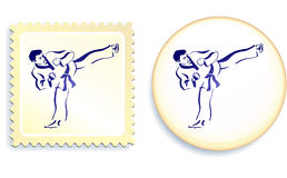 Martial Arts on stamp and button set Royalty Free Stock Photos