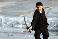 Martial arts with sword Stock Photography
