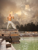 Martial Arts Tranquility Background. Image of Martial Arts Tranquility Cloudy Background Royalty Free Stock Images