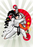 Martial arts vector. Martial arts  illustration composition over a white background Stock Image