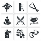 Martial Arts Vector Icons Set Royalty Free Stock Photos