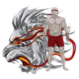 Martial arts warrior. With lion head art Stock Images