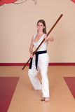 Martial Arts Woman. Second Degree Black Belt Woman royalty free stock photos