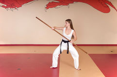 Martial Arts Woman. Second Degree Black Belt Woman stock images