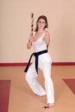 Martial Arts Woman. Second Degree Black Belt Woman stock photo
