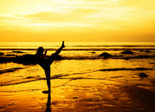 Martial arts woman on the beach. Woman performing martial arts kick on the beach at  sunset Stock Photos