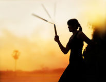 Martial arts, women and nunchaku in hands silhouette in sunset Stock Image