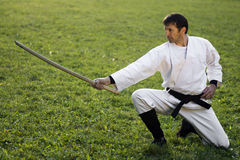 Martial arts with wooden sword Royalty Free Stock Images