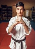 Martial arts, young fighter making respect sign Stock Photos