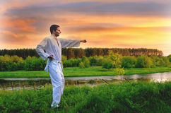 Martial arts. Young man dressed in kimono, exercising his martial arts skills in nature stock photos