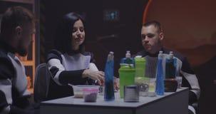 Martian base crew having lunch