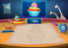 Martian Class: C - Cake. Hello, I'm Little Martian. I just open a class for all Martians to learn English. Will you join us?. Watch, Learn, and use crayons Stock Illustration